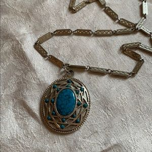 whiting Davis faux turquoise necklace